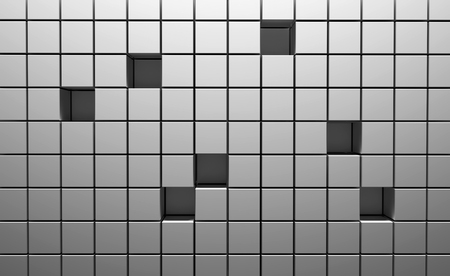 Abstract background of cubes in silver color. 3D illustration.