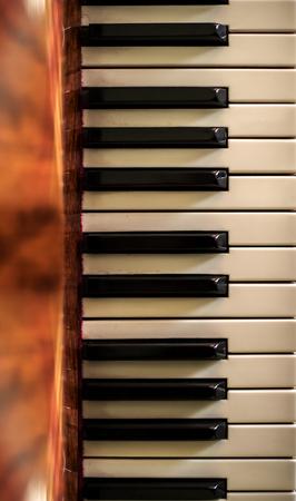 Piano keys. Piano shot close up. Musical instrument. Stock Photo - 109195349