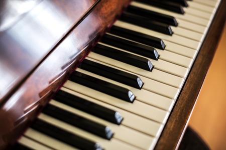 Piano keys. Piano shot close up. Musical instrument. Stock Photo - 109195352