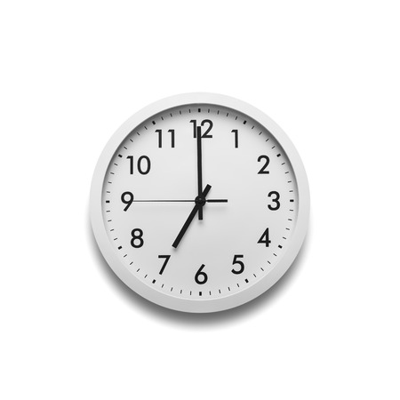 White wall clock isolated on white background. Banco de Imagens