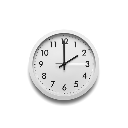 White wall clock isolated on white background. Stock Photo - 110725593