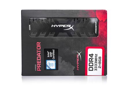 Kingston DDR4-3333 HyperX Predator Black ram on white background. Editorial