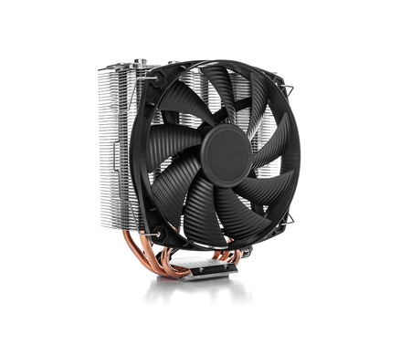 Cooler computer fan isolated on a white background. Imagens