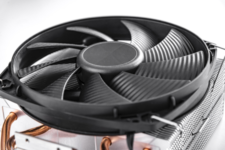 Cooler computer fan isolated on a white background. Stock Photo