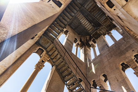 View from the inside of a high ancient tower in the city of Split.