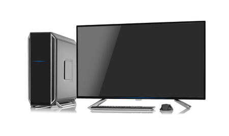 Desktop computer and keyboard and mouse on white. Stock Photo