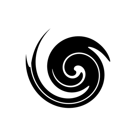 Abstract spiral in the form of a black circle on white background.