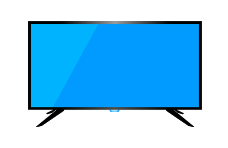TV or monitor desktop computer on a white background. Stock Photo