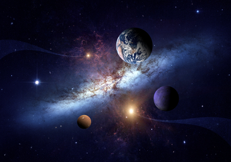 Planets of the solar system against the background of a spiral galaxy in space.