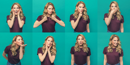 Set of photos of an attractive girl with different emotions and actions on a blue background. Reklamní fotografie