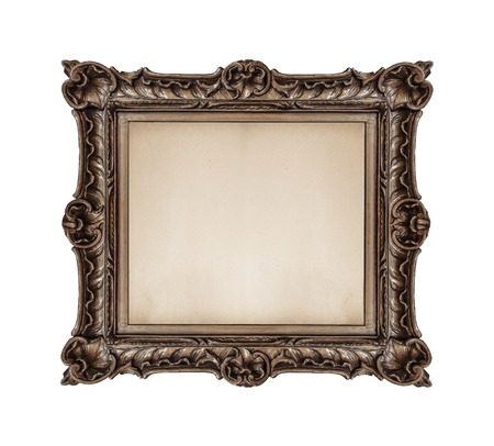 Vintage old picture frame on a white background.