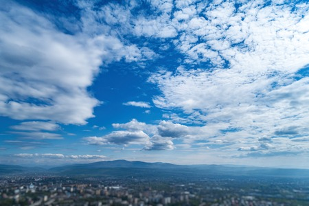 Sky with white clouds and horizon line. Stock Photo - 120895873