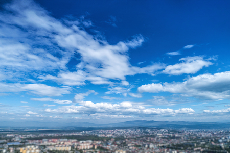 Sky with white clouds and horizon line. Stock Photo - 120895877
