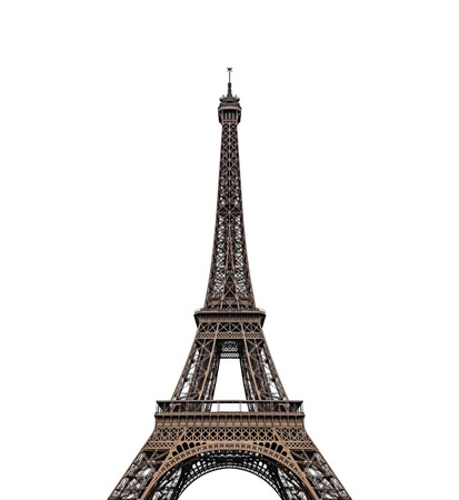 Torre Eiffel aislada sobre fondo blanco. Foto de archivo