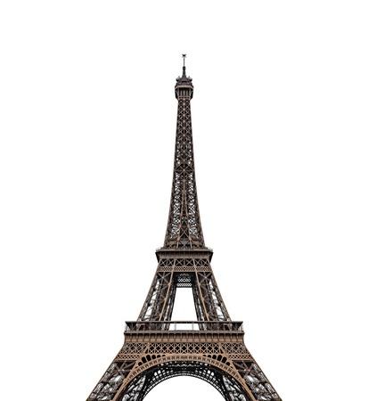 Torre Eiffel isolata su sfondo bianco. Archivio Fotografico