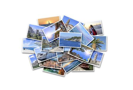 Sea vacation, travel and interesting places in the summer. Collage of photos on white background. 免版税图像