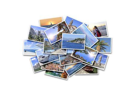 Vacanze al mare, viaggi e luoghi interessanti in estate. Collage di foto su sfondo bianco.