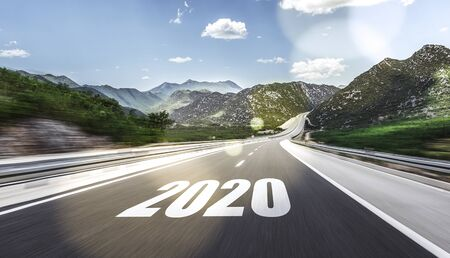 Empty asphalt road and New year 2020. Two thousand and twenty. Banque d'images - 128618237
