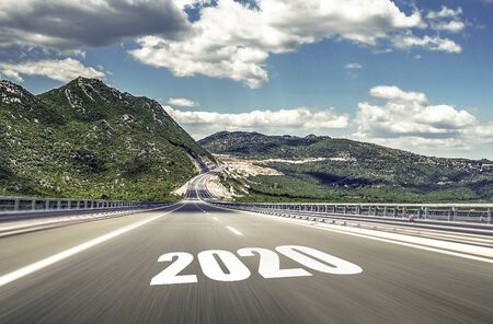 Empty asphalt road and New year 2020. Two thousand and twenty. Banque d'images - 128618227