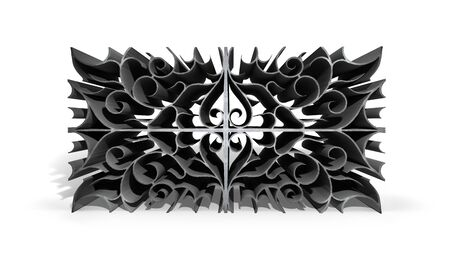 Abstract metal patterns design on white background. 3D illustration.