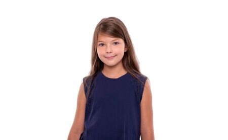 Portrait of a young girl on a white.