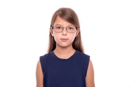 Portrait of a little girl with glasses isolated on white backgroud.