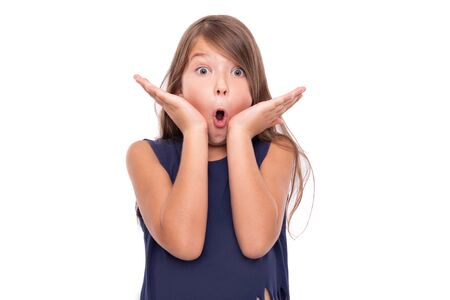 Little girl is surprised. Stock Photo