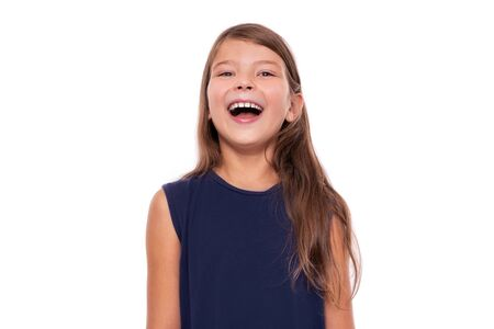 Portrait of a young smiling girl on a white. Stockfoto - 130134722