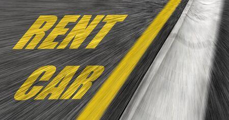 Car rental inscription on the road.