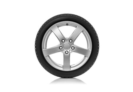 The car wheel is isolated against a white background.