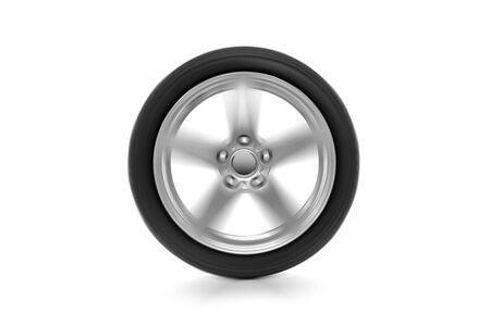 Spinning car wheel on a white background. Archivio Fotografico