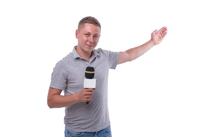 Correspondent or presenter with a microphone on white background.
