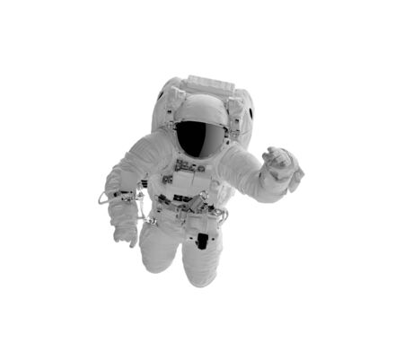 Astronaft in a spacesuit isolated on white.
