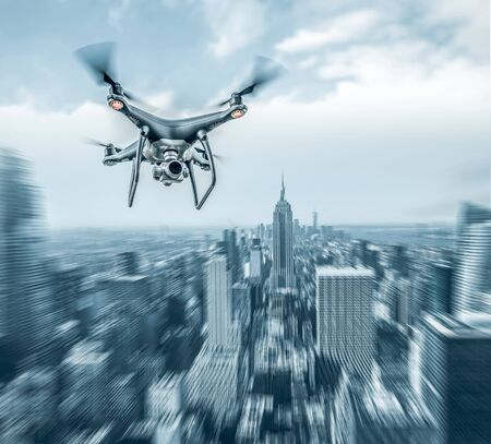 Drone flying in the big city. Added motion effect.
