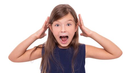 Little girl in shock or stress on white background.