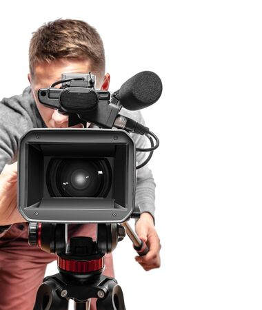 Video camera operator isolated on a white background.