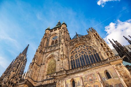 St. Vitus Cathedral against the sky.