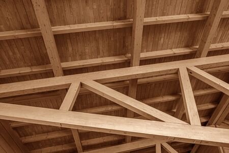 The construction of the wooden roof.