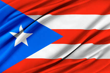 Colorful Puerto Rico flag waving in the wind.