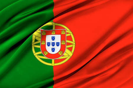 Colorful Portugal flag waving in the wind. Stock Photo