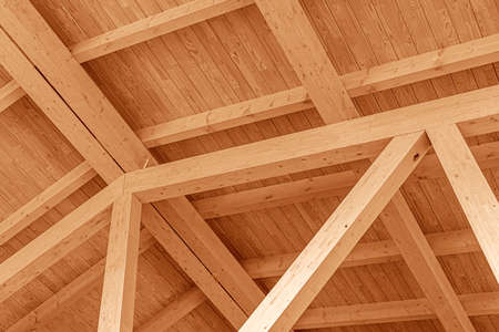 Wooden roof structure. Glued laminated timber roof.
