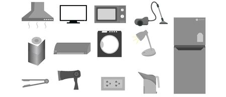 Set  Electrical appliances in the house vector design creative Çizim