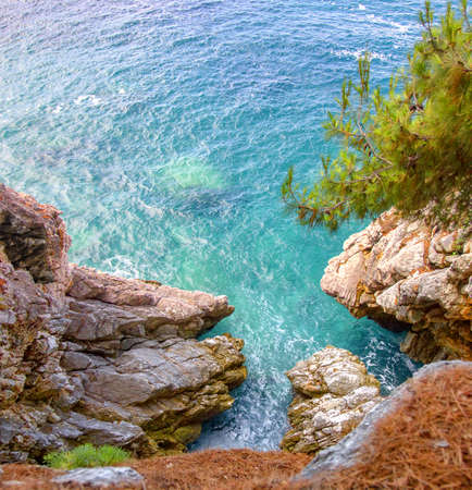 pit fall: Sea view from a steep cliff. Montenegro. (2)