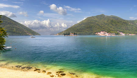 Panoramic views of the Kotor Bay of  Adriatic Sea with the islands of St. George and Our Lady on the Rocks. Perast, Montenegro