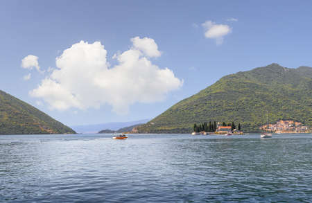 Panoramic views of the Kotor Bay of  Adriatic Sea and the island of St. George. Perast, Montenegro Stock Photo