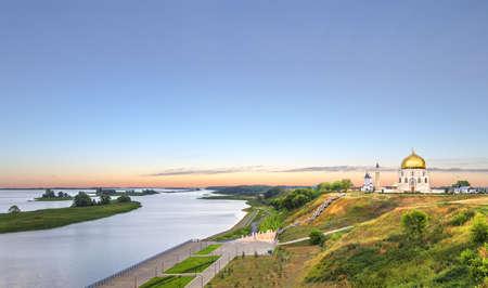 spassky: Panoramic view of the Volga and the landmarks of the ancient city Bolgar (or Bulgar) at sunset. Kazan, Tatarstan, Russia.