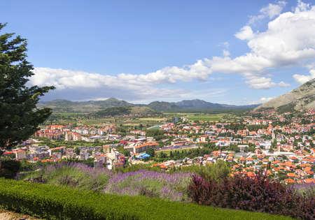 View of the city of Trebinje from the monastery Gracanica Hertsegovachka. Hill Tsrkvine. Bosnia and Herzegovina.