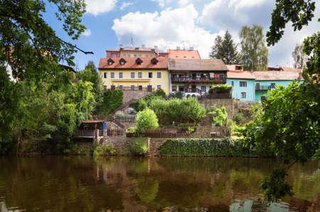 Vltava river embankment. Cesky Krumlov, Czech republic 版權商用圖片