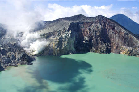 bowels: Sulphatic lake in a crater of volcano Ijen. Java. Indonesia  Stock Photo