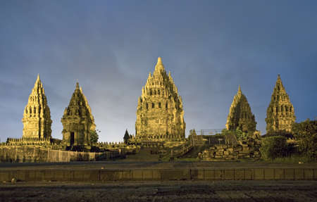 Hindu temple Prambanan. Indonesia, Java, Yogyakarta with night sky  Stock Photo